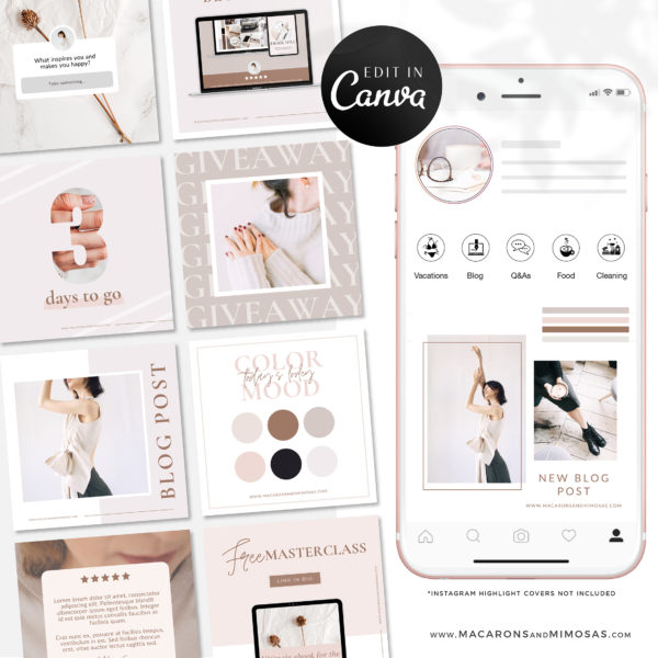 Pinterest templates, Boho Instagram Post Templates for Canva Fashion Infuenser Instagram Templates