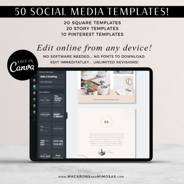 nstagram Post Templates, Canva Templates for Instagram, Boho Chic Instagram Templates, Fashion Infuenser Instagram Templates,