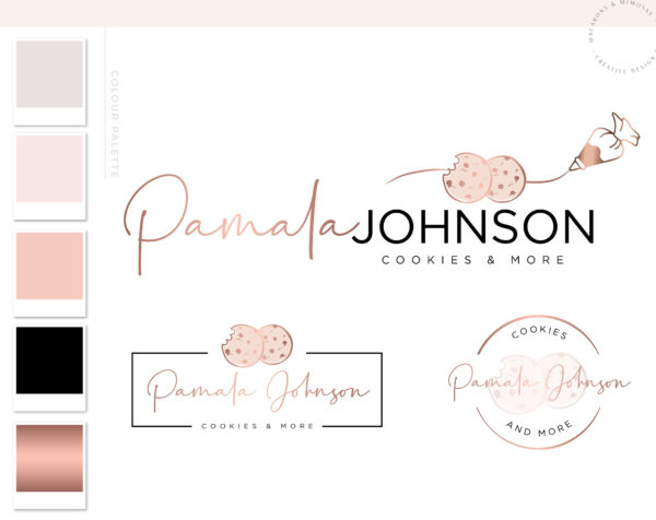 Cookie Bake Logo Design and Branding Kit with Business Cards for Custom Cakes Bakery in Rose Gold Pink for Instagram Brand Package