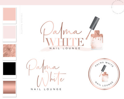 Nail Salon Logo design for Beauty Nail Artist and Watermark Rose Gold Nail Polish with a Custom Brand Kit and Package