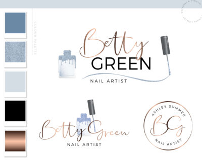 Nail Artist Logo design for Beauty Nail Extension Salon and Watermark Blue Glitter Nail Polish with a Custom Brand Kit and Package