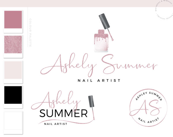 Nail Artist Extension Logo design for Beauty Nail Salon and Watermark Pink Glitter Nail Polish with a Custom Brand Kit and Package