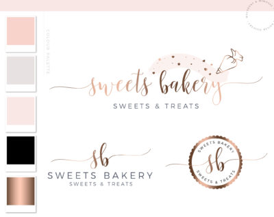 Premade Cake Branding, Pastry Bag Bakery logo Design with Hearts, Watercolor Logo Artisan Cakes, Food Brand and Watermark
