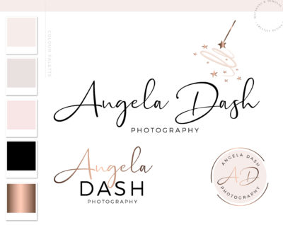 Magic Wand with Stars Fairy Dust Branding Logo Kit, Custom Logo Design Brand, Elegant Creative Business Logo, Modern Signature Logo Creation