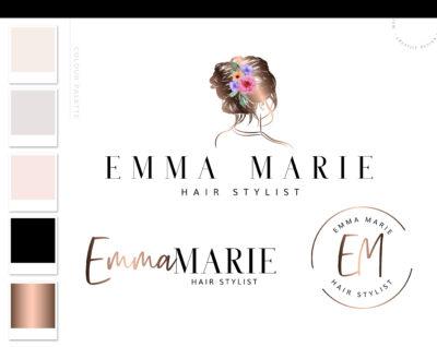 Hair Salon Premade Logo Design, Scissors Floral Branding kit, Branding Package Watermark, Beauty Stylist Logo