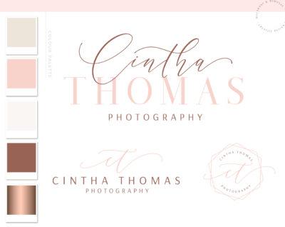 Mini Premade Logo Branding Kit Design Package, Modern Calligraphy Watermark Photography Logo, Pink and Rose Gold Elegant Brand