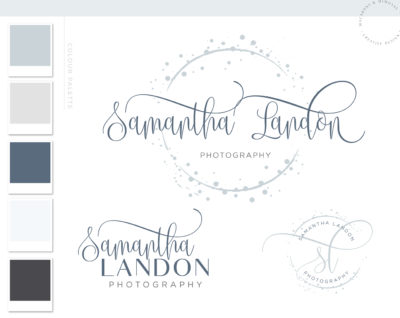 Confetti Circle Logo Design, Blue Modern Photography Logo Watermark custom Branding Kit, Premade Business Logo and Branding Package