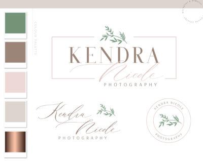 Floral Wreath Logo Branding Kit Design, Photography Boutique Shop Eucalyptus Branch Logo Watermark Package Greenery Frame