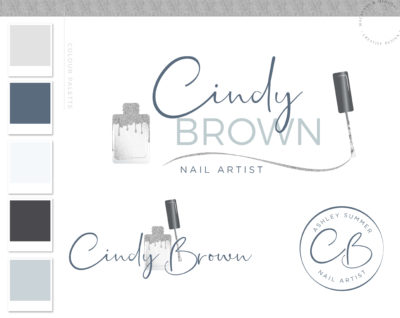 Nail Salon Logo Design for Beauty Nail Artist and Watermark Silver Nail Polish with a Custom Brand Kit and Package