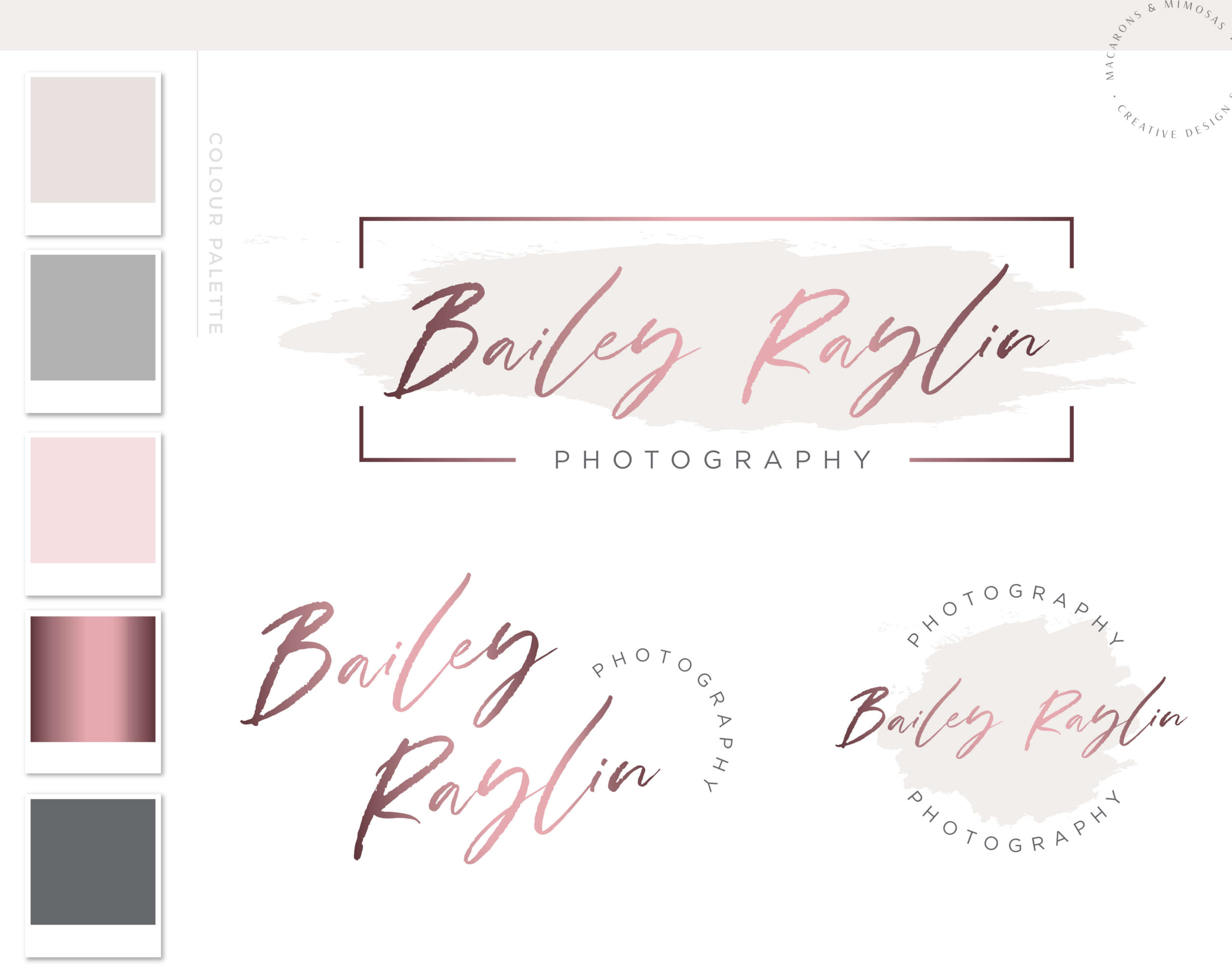 Logos & Branding Kit Photography Logo design Package Rose gold, Photo Watermark Real estate logo business brand
