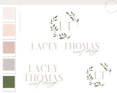 Wreath Logo Branding Kit Design, Boutique Eucalyptus Boho Branch Floral Photography Premade Logo Watermark Package Greenery Wedding Logo
