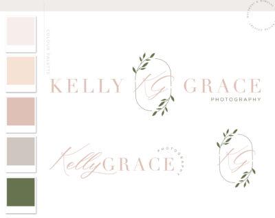 Leaf Logo Branding Kit Design, Boutique Eucalyptus Wreath Branch Floral Photography Premade Logo Watermark Package Greenery Wedding Logo