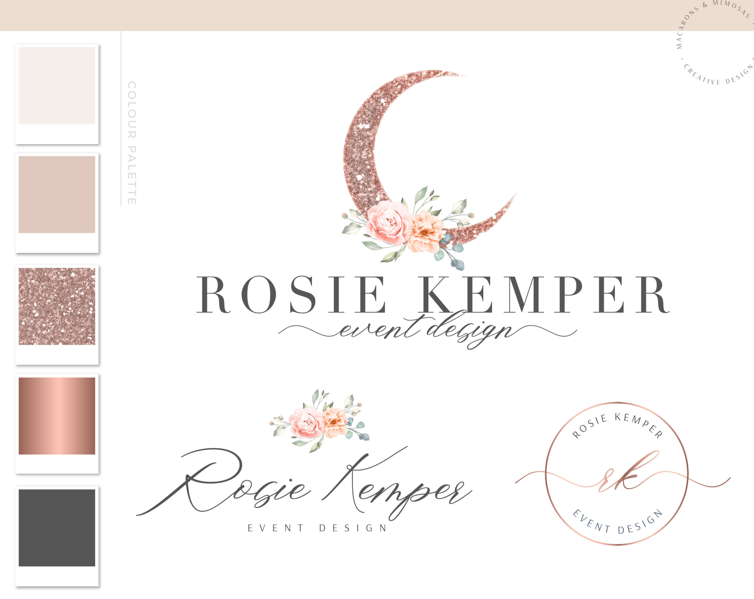 Boho Logo, Glitter Moon Floral Logo Design for Event Planner Photography and Boutiques, Modern Calligraphy Photography Logo Template