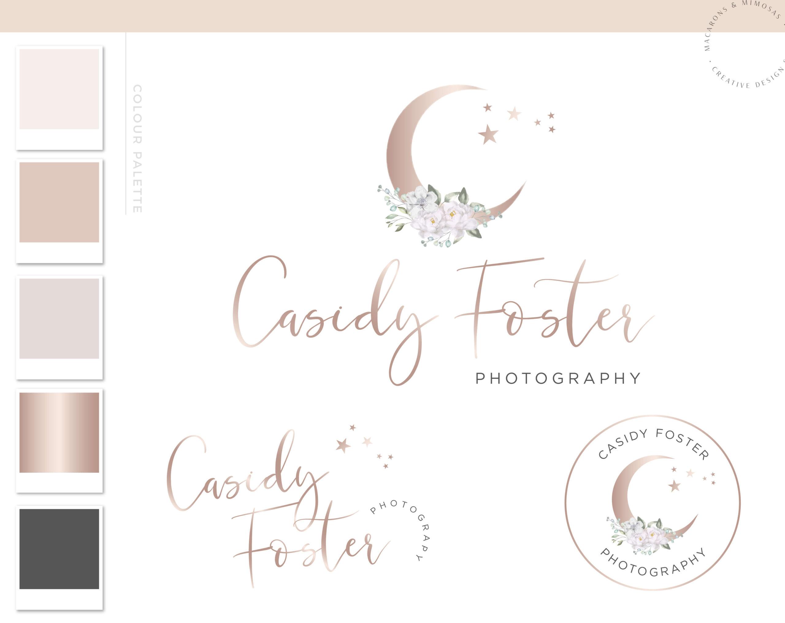 Moon Star Logo, Floral Branding Watermark Photography Logo Design, Modern Feminine Custom Branding Kit Business Card Addon