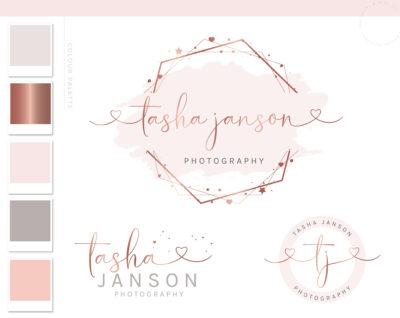 Rose Gold Logo Design, Pink Watercolor Logo Branding Kit, Watermark for Photography, Heart Star custom logo maker, Logo Branding Package