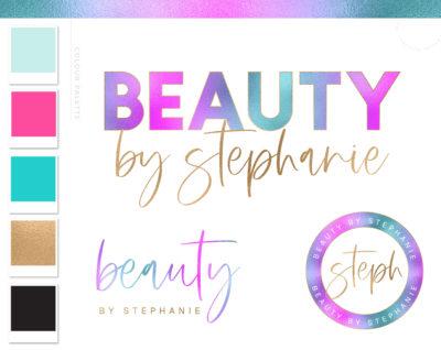 Holographic Logo Design, Unicorn Rainbow Neon Pink Beauty Logo and Watermark, Premade logo, Photography Branding Kit, Lash and Salon Logo