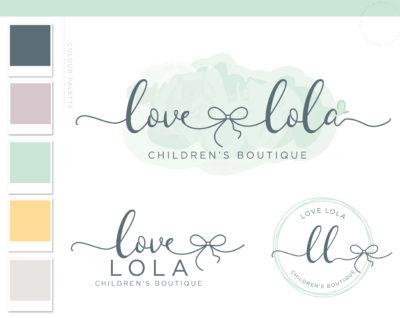 Bow Logo Design, Premade Boho Baby Boutique Watermark, Watercolor Photography Branding Kit, Children Kids Branding Kit Mint Green Script