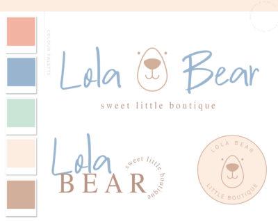 Bear Logo Design, Premade Boho Baby Boutique Circle Dots, Watercolor Photography Branding Kit, Children Kids Branding Kit Mint Green Script