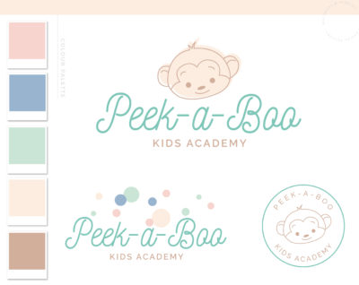 Monkey Logo Design, Premade Boho Baby Boutique Polka Dots, Watercolor Photography Branding Kit, Children Kids Branding Kit Mint Green Script