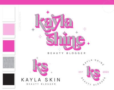 Neon Pink Logo Design, Glitter Holographic Beauty Logo and Watermark, Premade logo, Photography Branding Kit, Lash and Salon Logo