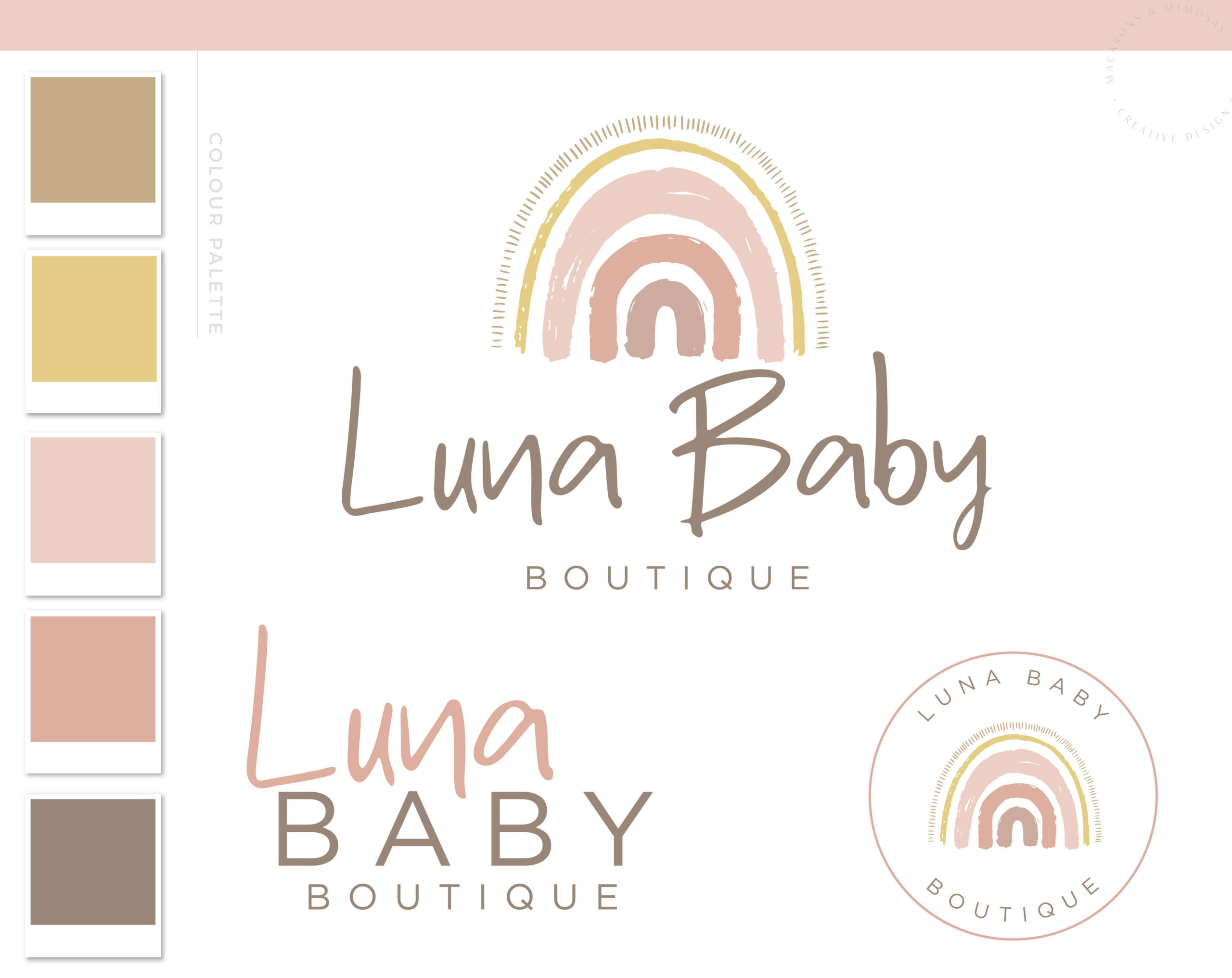 Rainbow Logo Design, Boho Baby Boutique Logo and Watermark, Photography Branding Kit, Premade Logo, Cute Kids Logo Branding