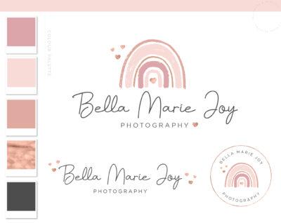 Rainbow Logo Design, Boho Baby Boutique Logo and Watermark, Photography Branding Kit, Cute Kids Star Logo Branding