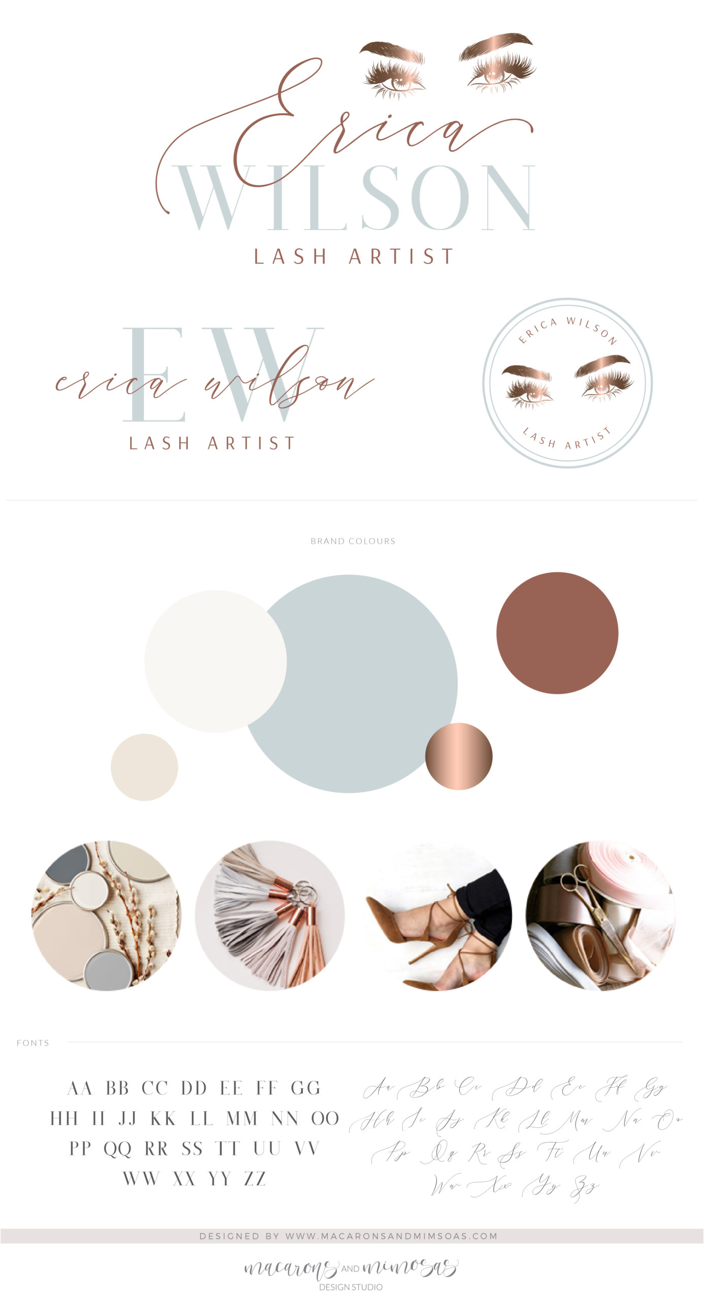 Eyelash Logo design for Lash and Makeup Artist Watermark Lash Extension with a Custom Brand Kit and Package in Rose Gold