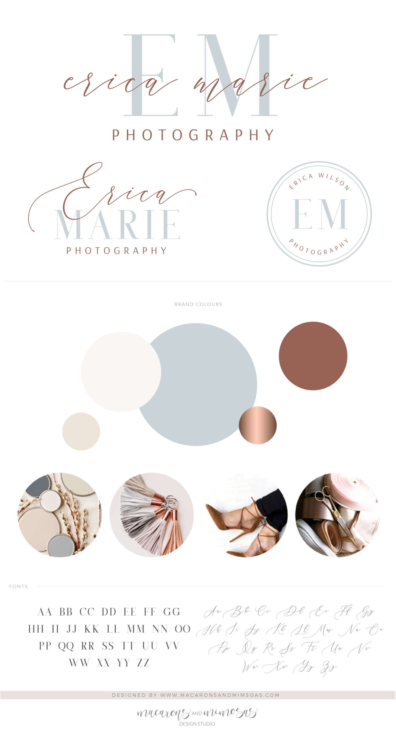 Blue Rose Gold Logo & Branding Package, Photography Logo Design Kit with Photo Watermarks for Real Estate Brand