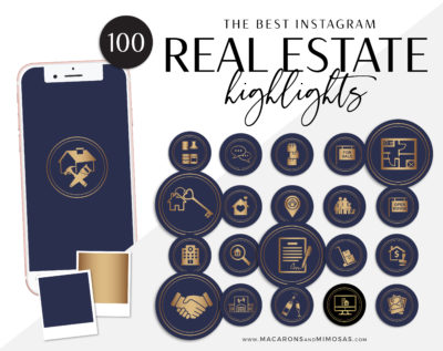 Real Estate Instagram Highlights, Blue Gold Realtor Highlight Icons, Rose Gold Instagram Covers, Real Estate IG Story covers