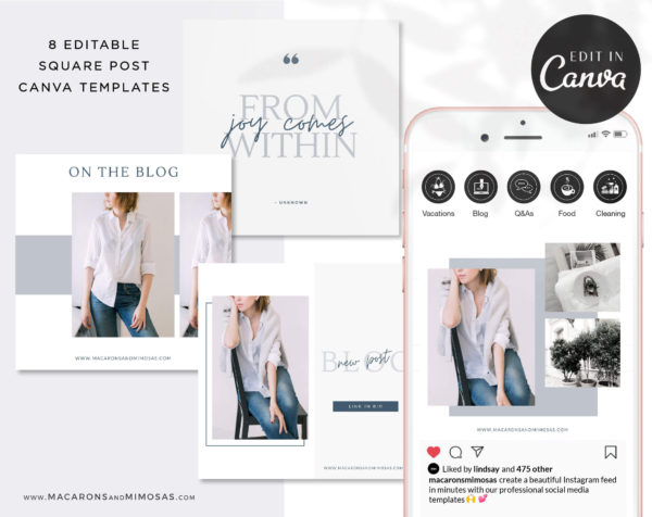 Instagram Templates for Canva, Editable IG Square Posts, 8 Social Media Bundle Templates, Instagram Story Template Bundle