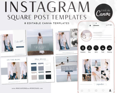 Instagram Templates for Canva, Editable IG Square Posts, 8 Social Media Bundle Templates, Instagram Story Template Bundle