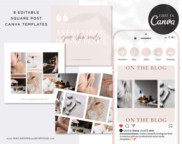 Instagram Templates for Canva, Boho Editable IG Square Posts, 8 Social Media Bundle Templates, Instagram Story Template Bundle