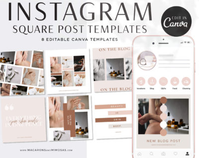 Instagram Templates for Canva, Boho Editable IG Square Posts, 8 Social Media Bundle Templates, Instagram Story Template Bundle