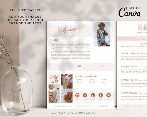 Influencer Media Kit Template for Canva, 2 Page Media Kit for Social Media Influencer, Instagram Influencer Press Kit Pitch Kit