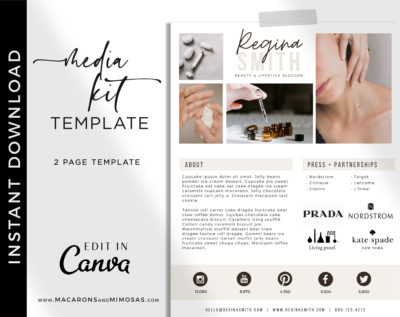 Influencer Media Kit Template, 2 Page Canva Media Kit for Social Media Influencer, Beauty Blogger Instagram Influencer Press Kit Pitch Kit