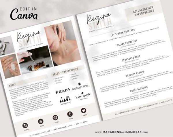 Influencer Media Kit Template, 2 Page Canva Media Kit for Social Media Influencer, Beauty Blogger Instagram Influencer Press Kit Pitch Kit