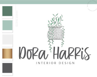 Floral Logo Design, Cactus Succulent Logo, Premade Branding Kit, Interior Design Logo, Plant in Pot Custom Watercolor Hand drawn Logo
