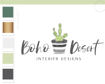 Interior Design Logo, Boho Cactus Logo, Succulent Branding Kit with Logo Watermark, Premade Green Plant in Pot Hand drawn Watercolor Logo