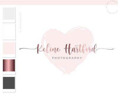 Heart Logo, Signature Logo Design, Pink Watermark Logo Branding, Watercolor logo, Photography Logo, Beauty Blogger Logo