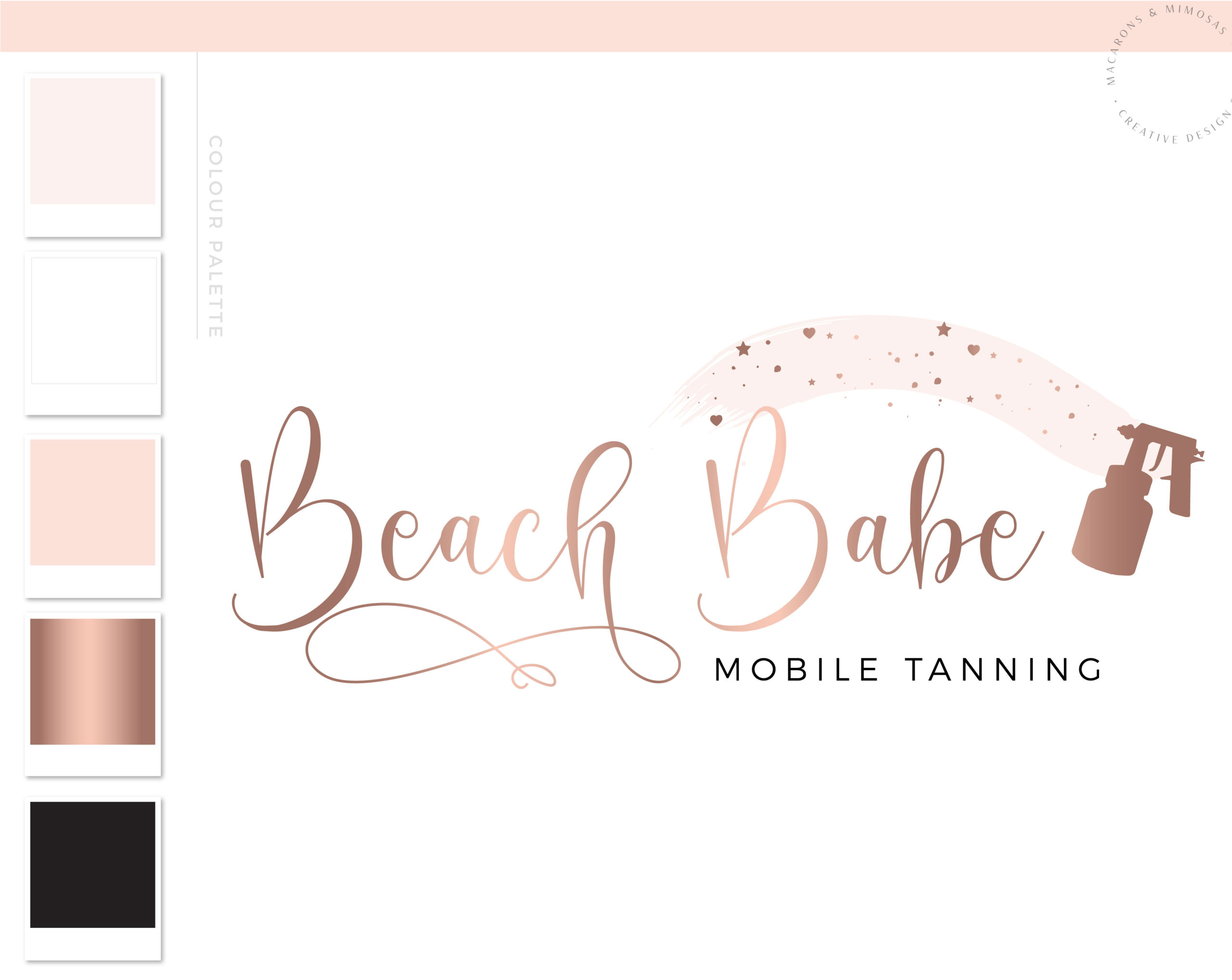 Tanning Logo Design, Spray Tan Branding Watermark, Stars Heart Spray Gun Mobile Tanning Logo Package, Rose Gold Premade Logo