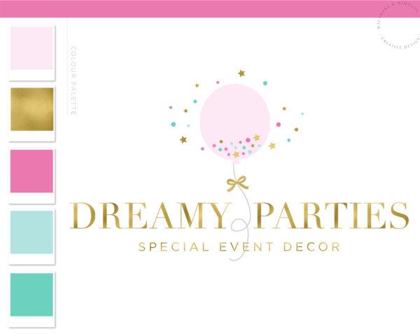 Party Planner Balloon Logo, Event Planner Logo, Party Decoration Logo, Wedding Planner Logo, Rose Gold Feminine, Premade Branding Kit