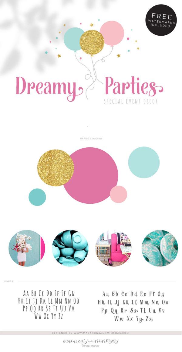 Balloon Logo, Event Planner Logo, Party Decoration Logo, Wedding Planner Logo, Party Planner Glitter Feminine Logo, Premade Branding Kit