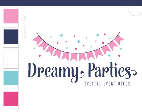 Party Planner Banner Logo, Event Planner Logo, Party Decoration Logo, Wedding Planner Logo, Rose Gold Feminine, Premade Branding Kit