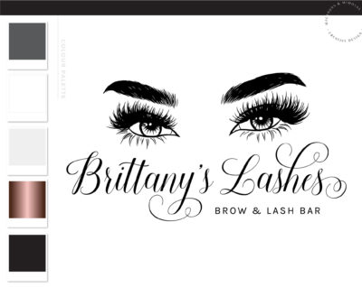 Eyelash Logo Design, Brow Logo design, Lash Logo Design, Lash Technician Logo, Salon Logo, Beauty Logo, Logo Template, heart sparkle lash