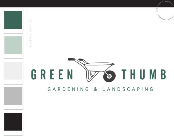 Lawn Care Logo, Wheelbarrow Logo, Landscaping Logo Design, Garden Blog, Organic Brand, Plant Logo, Business Branding, Botanical Logo