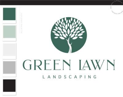 Lawn Care Logo, Landscaping Service Logo Design, Tree Logo, Garden Blog, Organic Brand, Plant Logo, Small Business Branding, Botanical Logo