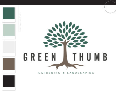 Tree Logo, Lawn Care Logo, Landscaping Service Logo Design, Garden Blog, Organic Brand, Plant Logo, Small Business Branding, Botanical Logo