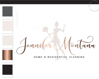 Housekeeper Logo, Cleaning Lady Logo, Maid Logo, Premade Cleaning logo, Cleaning Service Branding, Janitor Logo, Office Cleaner Logo