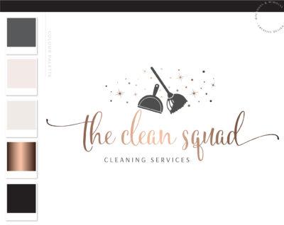Broom Logo, Maid Logo Design, Housekeeper Logo, Premade Cleaning Branding Kit, Cleaning Service Logo, Janitor Logo, Office Cleaner Logo