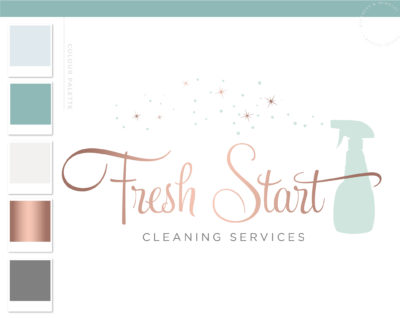 Spray Bottle Logo, Maid Logo, Housekeeper Logo, Premade Cleaning logo, Cleaning Service Branding, Janitor Logo, Office Cleaner Logo